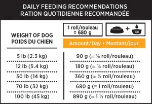 Nutrience Subzero frozen dog rolls feeding